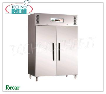 Industrial-Professional Freezer Cabinet 2 doors, lt.1173, negative temperature, FORCAR Brand 2-door Refrigerator / Freezer Cabinet, Brand FORCAR, with stainless steel structure, capacity lt.1173, low temperature -18 ° / -22 ° C, ventilated refrigeration, Gastro-Norm 2/1, V.230 / 1, Kw. 0.9, Weight 183 Kg, dim.mm.1340x845x2000h