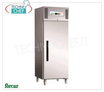 FORCAR - Fridge Cabinet 1 Door, lt.537, Professional, Ventilated, Class C, Mod.ECV600TN REFRIGERATOR 1 DOOR, FORCAR, capacity 537 liters, operating temperature -2 ° / + 8 ° C, ventilated refrigeration, Gastro-Norm 2/1, V.230 / 1, Kw.0.38, Weight 135 Kg, dim.mm.680x845x2000h