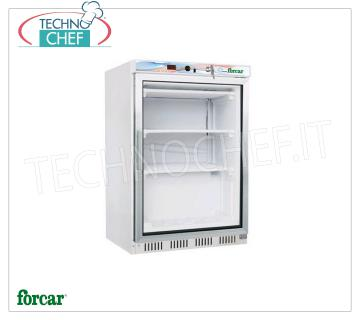 FORCAR - Technochef, Professional Freezer Wardrobe 1 Door, lt.130, negative temperature, Mod.EF200G Refrigerator / Freezer 1 glass door cabinet, FORCAR brand, external sheet metal structure, ABS interior, 130 lt capacity, low temperature -18 ° / -22 ° C, static refrigeration with internal fan, V.230 / 1, Kw. 0.36, Weight 44 Kg, dim.mm.600x585x855h
