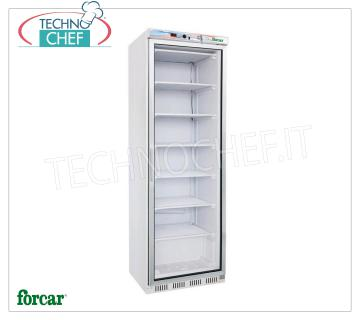FORCAR - Technochef, Professional Freezer Wardrobe 1 door, lt.350, negative temperature, Mod.EF400G Refrigerator / Freezer 1 glass door cabinet, FORCAR brand, external sheet metal structure, ABS interior, capacity lt.350, low temperature -18 ° / -22 ° C, static cooling with internal fan, V.230 / 1, Kw. 0.5, Weight 76 Kg, dim.mm.600x585x1855h