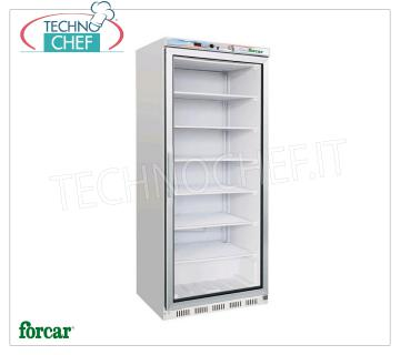 FORCAR - Technochef, Professional Freezer Wardrobe 1 door, lt.555, negative temperature, Mod.EF600G Refrigerator / Freezer 1 glass door cabinet, FORCAR brand, external sheet metal structure, ABS interior, capacity 555 l, low temperature -18 ° / -22 ° C, static refrigeration with internal fan, V.230 / 1, Kw. 0.52, Weight 94 Kg, dim.mm.777x695x1895h