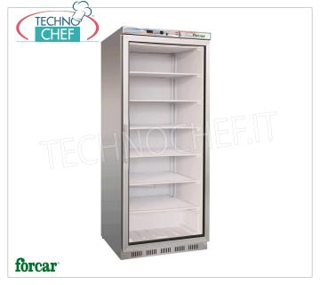Forcar - Professional Freezer Cabinet 1 door, lt. 555, Static, Eco, Temp.-18 ° / -22 ° C, mod.G-EF600GSS 1 glass door refrigerator / freezer cabinet, ECO Line, external structure in stainless steel, lt. 555, Temp.-18 ° / -22 ° C, Static with internal fan, Gas R290, V.230 / 1, Kw.0, 48, Weight 94 Kg, dim.mm.777x695x1895h