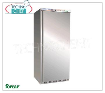 FORCAR - Technochef, Professional Freezer Cabinet 1 Door, lt.555, negative temperature, Mod.EF600SS 1-door Refrigerator / Freezer cabinet, 430 stainless steel external structure, ABS interior, capacity l555, low temperature -18 ° / -22 ° C, static refrigeration with internal fan, V.230 / 1, Kw 0.35 , Weight 94 Kg, dim.mm.777x695x1895h