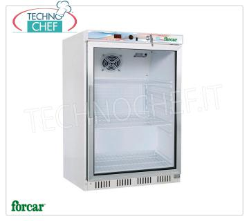 FORCAR - Technochef, Fridge Cabinet 1 Glass Door, lt.130, Professional, Mod.ER200G Refrigerator 1 Glass Door, FORCAR, ECO Line, with external structure in white sheet, ABS interior, 130 lt capacity, temperature + 2 ° / + 8 ° C, static refrigeration with internal fan, V. 230/1, Kw .0,15, Weight 44 Kg, dim.mm.600x585x855h