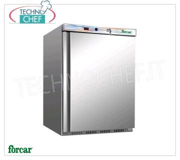FORCAR - Fridge Cabinet 1 Door, external Inox 430, lt.130, Class B, Mod.ER200SS Fridge 1 door wardrobe, FORCAR brand, with external structure in 430 stainless steel, ABS interior, 130 liter capacity, temperature + 2 ° / + 8 ° C, static refrigeration with internal fan, V. 230/1, Kw 0.15 , Weight 44 Kg, dim. mm. 600x585x855