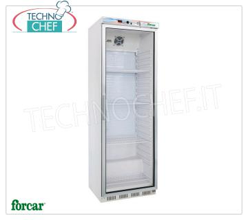 FORCAR - Fridge Cabinet 1 Glass Door, lt.350, Professional, Mod.ER400G Refrigerator 1 Glass Door, FORCAR, ECO Line, with external structure in white sheet, ABS interior, capacity lt.350, temperature + 2 ° / + 8 ° C, static refrigeration with internal fan, V.230 / 1, Kw .0,185, Weight 69 Kg, dim.mm.600x585x1855h