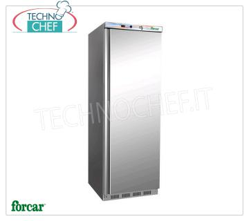 FORCAR - Fridge Cabinet 1 Door, external Inox 430, lt 340, Class C, Mod.ER400SS Frigor cabinet 1 door, with external structure in 430 stainless steel, ABS interior, capacity 340 liters, temperature + 2 ° / + 8 ° C, static refrigeration with internal fan, V. 230/1, Kw 0.185, Weight 69 Kg, dim. mm. 600x585x1855