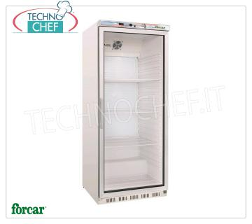 FORCAR - Fridge Cabinet 1 Glass Door, lt.570, Professional, Mod.ER600G Refrigerator 1 Glass Door, FORCAR, ECO Line, with external structure in white sheet, ABS interior, capacity lt.570, temperature + 2 ° / + 8 ° C, static refrigeration with internal fan, V.230 / 1, Kw .0,185, Weight 90 Kg, dim.mm.777x695x1895h