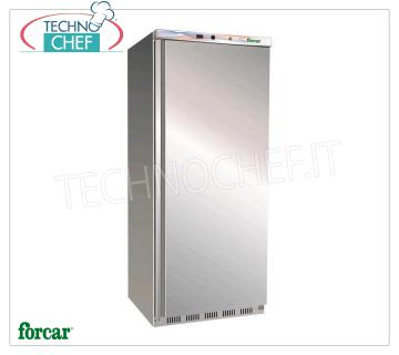 Forcar - 1 Door Fridge Cabinet, lt. 555, Static, Temp. + 2 ° / + 8 ° C, Class C, model G-ER600SS 1 Door Refrigerator Cabinet, Professional, external structure in stainless steel, internal in ABS, lt. 555, Temp. + 2 ° / + 8 ° C, ECOLOGICAL in Class C, Gas R600a, Static with internal fan, V.230 / 1 , Kw.0,185, Weight 90 Kg, dim.mm.777x695x1895h