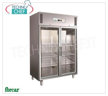FORCAR - Technochef, Professional Fridge Wardrobe 2 glass doors, lt.1325, Mod.GN1410TNG FORCAR 2 door glass refrigerator cabinet, made of stainless steel, lt.1325 capacity, operating temperature + 2 ° / + 8 ° C, ventilated refrigeration, Gastro-Norm 2/1, V.230 / 1, Kw.0 , 7, Weight 198 Kg, dim.mm.1480x830x2010h