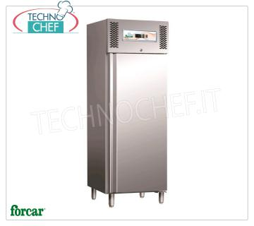 FORCAR - Technochef, Professional Freezer Wardrobe 1 Door, lt.650, negative temperature, Mod.GN650BT 1 Door Refrigerator / Freezer Cabinet, Brand FORCAR, with stainless steel structure, capacity lt.650, low temperature -18 ° / -22 ° C, ventilated refrigeration, Gastro-Norm 2/1, V.230 / 1, Kw. 0,75, Weight 138 Kg, dim.mm.740x830x2010h.