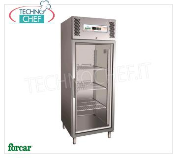 FORCAR - Technochef, Fridge Cabinet 1 Glass Door, lt. 650, Professional, Mod.G-GN650TNG Refrigerator cabinet 1 Glass Door, FORCAR, capacity lt. 650, operating temperature -2 ° / + 8 ° C, ventilated refrigeration, Gastro-Norm 2/1, V.230 / 1, Kw.0.315, Weight 138 Kg, dim.mm.740x830x2010h