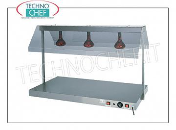 Hot Plan with Infrared Heating Lamps HOT STAINLESS STEEL TOP with INFRARED LAMPS and SIDE DEFLECTORS in polycarbonate, COMPLETE RANGE of 3 models, from 1 to 3 Gastro-Norm 1/1 (530x325 mm) trays, adjustable thermostat from + 30 ° to +90 ° C, V .230 / 1