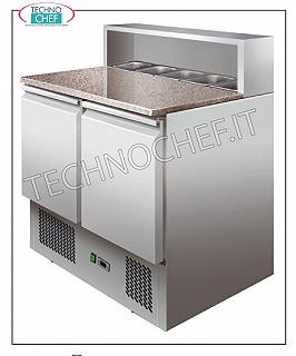 Technochef - 2 doors refrigerated saladette and compartment for 5 GN 1/6 Saladette counter for pizzeria, 2 GN 1/1 DOORS, capacity 5 GN 1/6, temp. + 2 ° + 8 ° C, V 230/1, kw 0.25, dim. mm 900x700x1010h