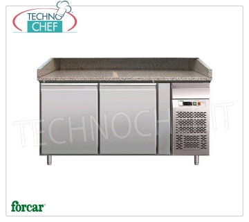 Forcar - REFRIGERATED PIZZA COUNTER 2 DOORS, Ventilated, Class B, mod.G-PZ2600TN 2 DOORS refrigerated pizza counter, granite top with upstand on 3 sides, operating temperature + 2 / + 8 ° C, Ventilated, ECOLOGICAL in Class B, Gas R290, V.230 / 1, Kw.0,26, Weight 257 Kg, dim.mm.1510x800x1000h