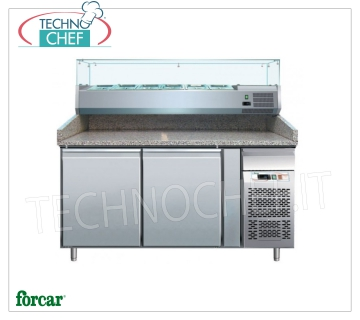 2 DOOR refrigerated pizza counter, with DEEP 330 or 380 mm display case, FORCAR brand 2 DOOR refrigerated pizza counter, FORCAR brand, with 330 mm deep refrigerated display case, 7 GN 1/4 (mm 265x162), operating temperature + 2 / + 8 ° C, V.230 / 1, Kw.0, capacity 35, dim.mm.1510x800x1390h