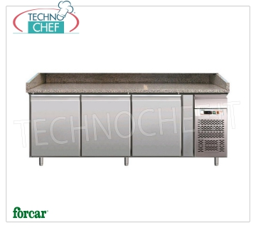BANCO PIZZA REFRIGERATED 3 DOORS, FORCAR Brand Refrigerated pizza counter 3 DOORS, FORCAR brand, granite countertop with 3 sides upstand, working temperature + 2 ° / + 8 ° C, V.230 / 1, Kw.0.35, Weight 320 Kg, dim.mm .2020x800x990h
