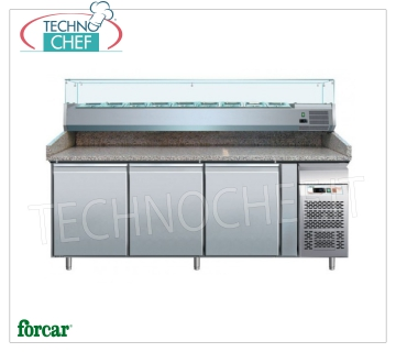 3 DOOR refrigerated pizza counter, with DEEP 330 or 380 mm display case, FORCAR brand Refrigerated pizza counter 3 DOORS, FORCAR Brand, with 330 mm deep refrigerated display case, capacity 10 GN 1/4 (mm 265x162), operating temperature + 2 ° / + 8 ° C, V.230 / 1, Kw.0 , 35, dim.mm.2020x800x1390h