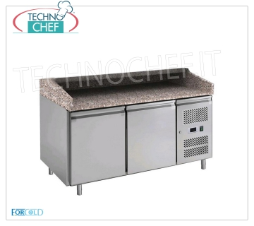 BANCO PIZZA REFRIGERATED 2 DOORS, FORCOLD Brand REFRIGERATED PIZZA BENCH with 2 DOORS, FORCOLD Brand, granite top with 3 sides upstand, working temperature + 2 / + 8 ° C, V.230 / 1, V 230/1, Kw 0.235, Weight 233 Kg, dim .mm.1510x800x1000h.
