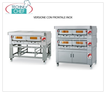 Modular gas pizza oven, ECO GAS line, room with refractory top for 12 pizzas MODULAR gas pizza oven, for 12 pizzas, version with FRONT PANEL, 1230x930x150h mm CHAMBER with REFRACTORY TOP, 24000 Kcal / h heat output, Weight 240 Kg, external dimensions 1600x1420x520h mm