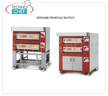 Electric modular pizza oven, EURO STAND line, room with refractory top for 8 pizzas MODULAR electric pizza oven, for 8 pizzas diam. 300 mm, version with RUSTIC FRONT, CHAMBER of 1230x630x170h mm with REFRACTORY TOP, V.400 / 3, Kw.8,5, Weight 165 Kg, external dimensions mm 1620x960x400h