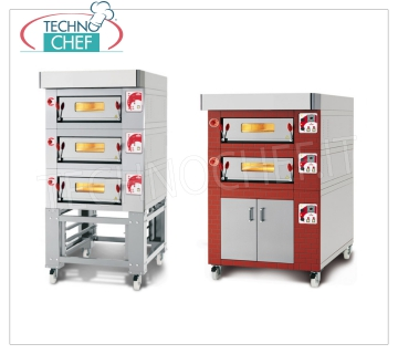 Modular electric pizza ovens with refractory cooking surface and foil chamber