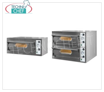 Monoblock electric pizza ovens, BASIC line with refractory cooking surface and foil chamber