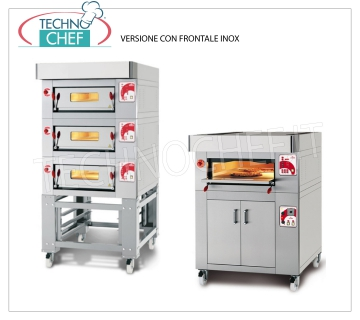 Modular electric pizza ovens, CL STAND line, chamber for 6 pizzas with refractory top MODULAR electric pizza oven, for 6 pizzas diam. 300 mm, version with STAINLESS STEEL FRONT, 600x900x170h CHAMBER with REFRACTORY TOP, V.400 / 3, Kw. 7,2, Weight 145 Kg, dim. external mm 1000x1260x400h