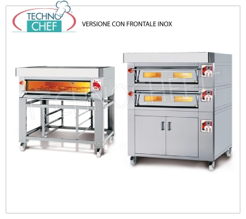 Electric modular pizza oven, EURO STAND line, room with refractory top for 8 pizzas MODULAR electric pizza oven, for 8 pizzas diam. 300 mm, version with FRONT PANEL, CHAMBER from 1230x630x170h with top in REFRACTORY, V.400 / 3, Kw.8,5, Weight 165 Kg, external dimensions mm 1620x960x400h