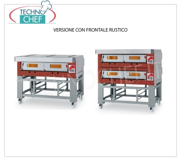 Modular gas pizza oven, ECO GAS line, room with refractory top for 12 pizzas MODULAR gas pizza oven, for 12 pizzas, version with RUSTIC FRONT, CAMERA from 1230x930x150h mm with REFRACTORY TOP, heat output 24000 Kcal / h, Weight 240 Kg, external dimensions 1600x1420x520h mm