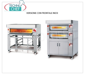 Electric modular pizza oven, EURO CLASSIC Line, entirely refractory chamber for 9 pizzas MODULAR electric pizza oven, for 9 pizzas diam. 300 mm, version with STAINLESS STEEL FRONT PANEL, FULLY REFRACTORY CHAMBER of 930x930x170h, V.400 / 3, Kw.9,5, Weight 200 Kg, external dimensions 1320x1260x400h mm