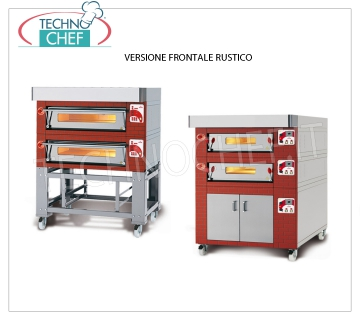 Electric modular pizza oven, EURO CLASSIC Line, entirely refractory chamber for 9 pizzas MODULAR electric pizza oven, for 9 pizzas diam. 300 mm, version with RUSTIC FRONT, ROOM COMPLETELY REFRACTORY from 930x930x170h, V.400 / 3, Kw.9,5, Weight 200Kg, external dimensions 1320x1260x400h mm