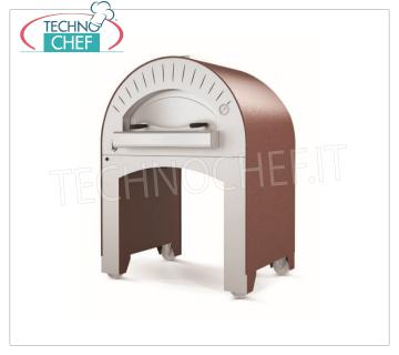 WOOD OVEN for PIZZA 'QUATTRO PRO' complete with BASE on WHEELS WOOD-BURNING OVEN for PIZZA 'QUATTRO PRO' complete with base on wheels, with 900x600 mm refractory hob, 3 pizzas capacity Ø 33 cm, Weight 240 Kg, dim.mm.1150x890x1600h