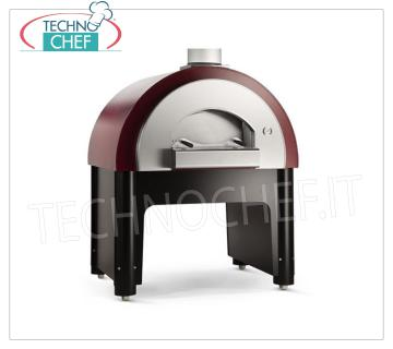 WOODEN OVEN for 6 PIZZAS of 33 cm, on Base, mod. forquick WOOD OVEN for 6 PIZZAS of 33 cm, Line 'QUICK' with BASE, with refractory hob of 1200x900 mm, capacity 6 Ø 33 cm, Weight 330 Kg, dim.mm.1360x1250x1750h