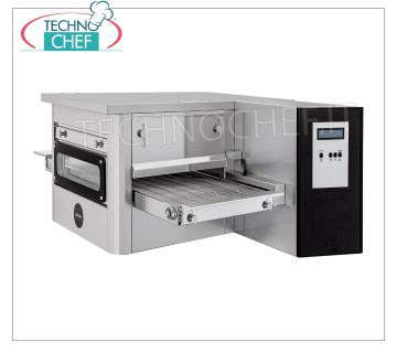 TECHNOCHEF - Pizza Tunnel Gas Oven with Wide Ribbon 400 mm, Mod.TUNNELC / 40GAS Gas tunnel pizza oven with 400 mm wide stainless steel mesh belt, ventilated cooking, 20 pizzas / hour maximum yield, Kw 10.4 Thermal Power, V.230 / 1, Gross Weight Kg 190, dim.mm.1425x1015x450h