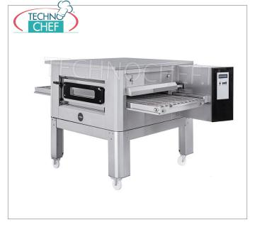 TECHNOCHEF - 650mm Pizza Tunnel Gas Oven with Belt, complete with support, Mod.TUNNELC / 65GAS Gas tunnel pizza oven with 650 mm wide stainless steel mesh belt, ventilated cooking, max 85 pizzas / hour, complete with base support, Kw 22.6 Thermal Power, gross Kg 387, dim.mm.2070x1375x560h