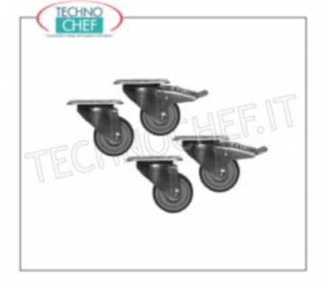 Wheel kit Pivoting castors diameter 50 mm, 2 with brake