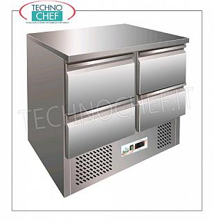 Forcar - Refrigerated table with 4 drawers, Temp. + 2 ° / + 8 ° C, lt. 240, Static, Class C, model G-S9014D Refrigerated counter table with 4 drawers, Professional, capacity 240 lt, temperature + 2 ° / + 8 ° C, static refrigeration with agitator, EC-CLASS in Class C, Gas R600a, V.230 / 1, Kw 0.155, Weight 89 Kg, dim .mm.900x700x850h
