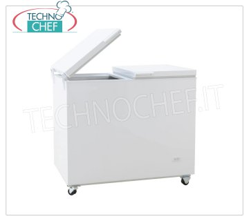 Horizontal well freezer, lt. 373, blind door with flip-flop system Horizontal box refrigerator, 373 lt capacity, version with 'flip flop' folding doors, white exterior, operating temperature -13 ° / -23 ° C, V.230 / 1, Kw.0,256, Weight 63 Kg, dim .mm.1305x720x875h