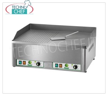 FIMAR - Technochef, Professional Electric Desk Fry Top, 1/2 Plate Smooth 1/2, Smooth, Mod. FRY2LR ELECTRIC tabletop FRY TOP, DOUBLE MODULE with INDEPENDENT CONTROLS, SANDBLASTED STEEL PLATE, half SMOOTH and half RIGATA, THERMOSTATIC CONTROL from 50 ° to 300 ° C, V 400/3 + N, Kw 6.00, external dimensions. mm 665x570x300h