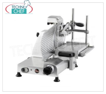 TECHNOCHEF - VERTICAL SLICER for CURED MEATS, blade Ø 300, Professional, Mod.F300TS-VR Vertical slicer with BLADE diameter 300 mm, version with Self-Locking Press-Cured Meat Arm with 2 Columns, complete with Sharpener, V 230/1, Kw 0.245, Weight 27 Kg, dim.mm.520x460x515h