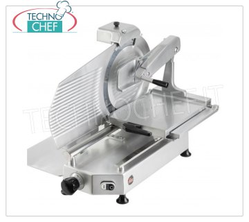 TECHNOCHEF - VERTICAL SLICER for CURED MEATS, blade Ø 300 mm, Professional, Mod.F 300 TS-V Vertical slicer with salt pressing arm, blade diameter 300 mm, in aluminum alloy, complete with fixed blade sharpener, V 230/1, Kw 0,300, Weight 36 Kg, dim.mm.550x530x610h