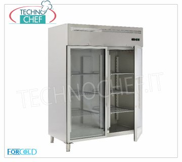 Forcold - Ventilated Refrigerated Cabinet, 2 doors, lt. 1300, Temp.-2 ° / + 8 ° C, model G-GN1410TNG-FC Professional Refrigerator Cabinet, 2 glass doors, lt. 1,300, Temp.-2 ° / + 8 ° C, Ventilated, Gas R290, Gastronorm 2/1, V.230 / 1, Kw. 0,508, Weight 206 Kg, dim.mm .1480x830x2010h
