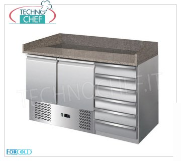 Forcold - Refrigerated Pizza Counter 2 Doors + Drawer Unit, Temp. + 2 ° / + 8 ° C, Static, Class E Refrigerated pizza counter 2 doors + 6-drawer chest of drawers, granite top with upstand on 3 sides, Temp. + 2 ° / + 8 ° C, Static, ECOLOGICAL in Class E, Gas R600a, V.230 / 1, Kw.0,235 , Weight 198 Kg, dim.mm.1420x700x1020h