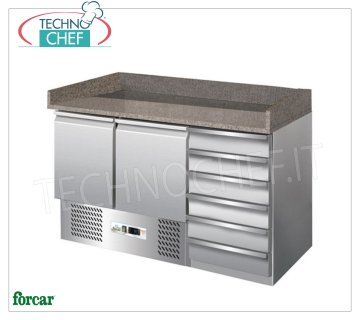 Forcar - Refrigerated Pizza Counter 2 Doors + Drawer Unit, Temp. + 2 ° / + 8 ° C, Static, Class C, mod.G-S903PZ Refrigerated pizza counter 2 doors + 6-drawer chest, granite top with upstand on 3 sides, Temp. + 2 ° / + 8 ° C, Static, ECOLOGICAL in Class C, Gas R600a, V.230 / 1, Kw.0,155 , Weight 268 Kg, dim.mm.1400x700x1020h