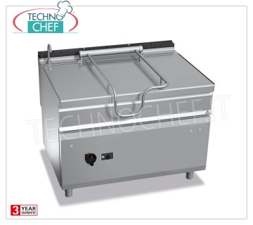 Technochef - Gas Bratt Pans, Motorized Overturning, 120 lt. Capacity, Mod. G9BR12 / I + RM Gas tilting braising pan, BERTOS, MAXIMA 900 line, MAXI-120 series, with 120 liter stainless steel tank, motorized tilting, thermal power Kw.30, weight 205 kg, dim.mm.1200x900x900h