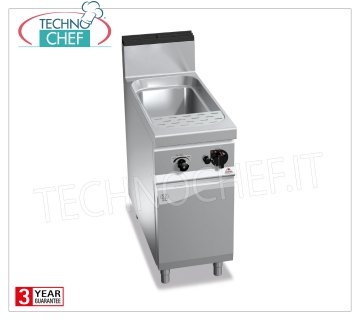 TECHNOCHEF - GAS PASTA COOKER on MOBILE, 1 GN 1/1 well, 40 lt capacity, Mod.G9CP40 GAS PASTA COOKER on MOBILE, BERTOS, MAXIMA 900 Line, PASTA ITALY Series, 1 GN 1/1 Lt.40 tank, heat output Kw 12.00, Weight 54 Kg, dim.mm.400x900x900h