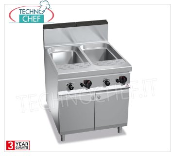 TECHNOCHEF - GAS PASTA COOKER on MOBILE, 2 GN 2/1 tanks, capacity 40 + 40 liters, MAXIMA 900 line, Mod. G9CP80 GAS PASTA COOKER on MOBILE, BERTO'S, MAXIMA 900 Line, PASTA ITALY Series, 2 GN 2/1 tanks of lt.40 + 40, independent controls, heat output Kw.24,00, Weight 94 Kg, dim.mm.800x900x900h