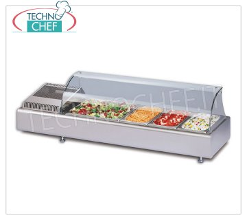 Technochef - REFRIGERATED COUNTER DISPLAY CABINET with CURVED GLASS, temp. + 2 ° / + 10 ° C Refrigerated counter display case with curved glass, tray capacity: all GN formats - H max 100 mm, temperature + 2 ° / + 10 ° C, static refrigeration, V.230 / 1, Kw.0.13, Weight 40 Kg , dim.mm.1023x380x361h