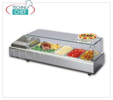 Technochef - REFRIGERATED COUNTER DISPLAY CABINET with STRAIGHT GLASS, Temp. + 2 ° / + 10 ° C Refrigerated counter display case with straight glass, containers capacity: all GN formats - H max 100 mm, temperature + 2 ° / + 10 ° C, static refrigeration, V.230 / 1, Kw.0.13, Weight 40 Kg , dim.mm.1023x380x351h